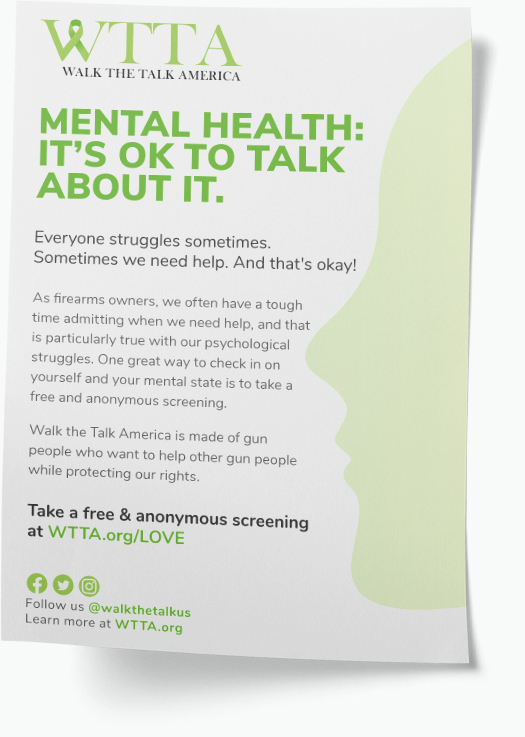 """Flyer that says """"Mental Health: It's okay to talk about it"""" with information about Walk the Talk America"""