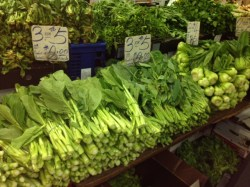 Fresh vegetable stall at market