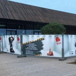 Bâches imprimées barrières Héras centre commercial B'est