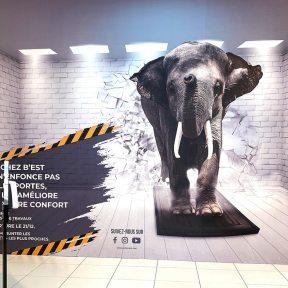 Création visuelle Palissade chantier bois centre commercial