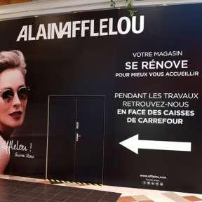 Palissade travaux bois boutique Alain Afflelou Centre Commercial SCC Bel Air à Rambouillet