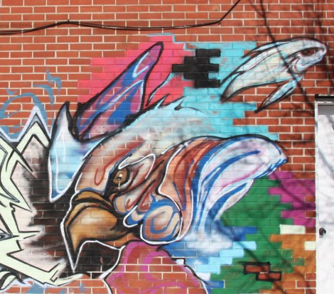 detail of mural by unidentified artist in Pointe St-Charles