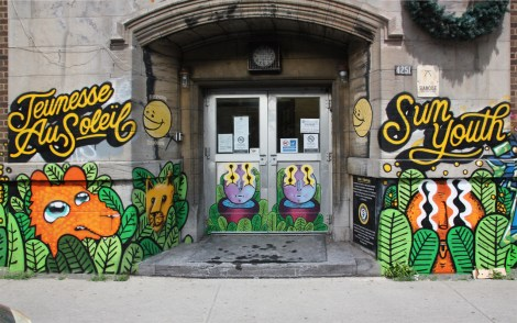 Marc Sirus on letters in a multi-artist mural project for Sun Youth; creatures are by Waxhead and Cryote