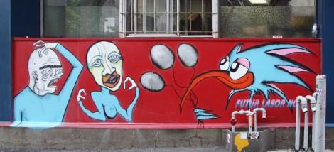 Under Pressure Festival zone 2014 - 210 Ste-Catherine - Mono Sourcil (left), Futur Lasor Now (right)