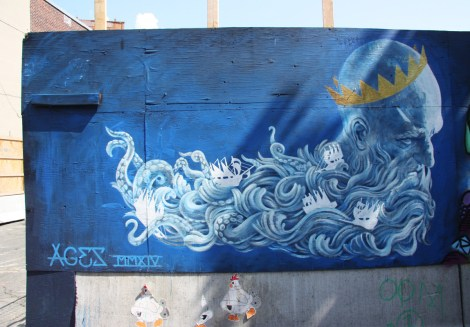 Under Pressure Festival zone 2014 - Bryan Keith Lanier on boarded wall