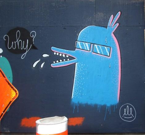 Under Pressure Festival zone 2014 - unidentified artist on boarded wall