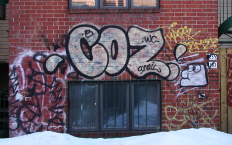 Coz graffiti, a little creature by someone from WC and lots of tags in alley between St-Laurent and Clark
