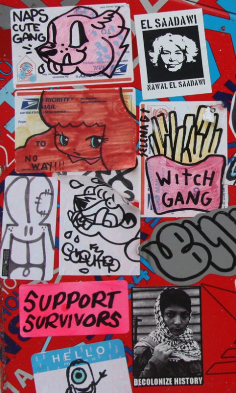 Stela (red starchild), Selena Gomez representing the Witch Gang, Naps (top left) and other friends plus socially minded collectives such as Wall Of Femmes and Decolonizing Street Art