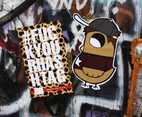 paste-ups from Shifty Cat (left) and ROC514 (right)