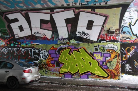 Skor (bottom; over Max) and Acro (top) at the Rouen tunnel legal graffiti wall