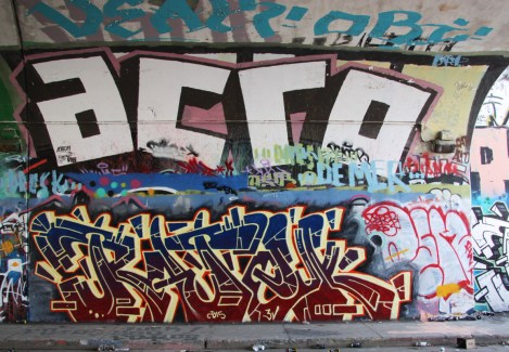 Ratek (bottom) and Acro (top) at the Rouen tunnel legal graffiti wall