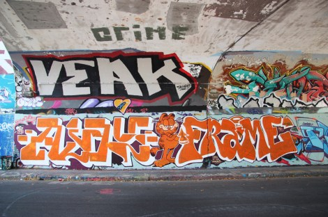 Unidentified (bottom left), Frame (bottom right), Veak (top left) at the Rouen tunnel legal graffiti wall