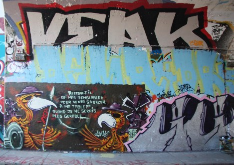 Max (bottom left) and Veak (top) at the Rouen tunnel legal graffiti wall