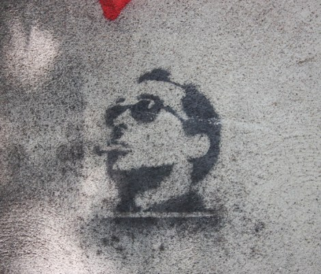 Unknown artist stencil in alley between St-Laurent and Clark