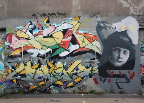Sen2 (top left), Logek (bottom left) and Hsix (right) on Cabot graffiti wall