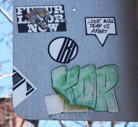 Paste-ups by Futur Lasor Now (top left) and Kor from HoarKor (bottom in green)