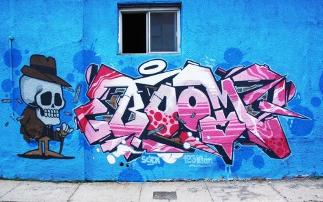 Scien piece on 123Klan x A'Shop wall on the Plateau