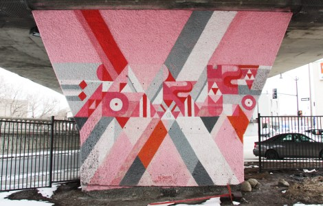 Pery Dyer 'mural' on a pillar of the Van Horne|Rosemont overpass