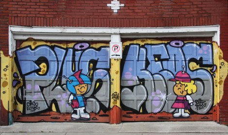 Plus and Keos on Mile End garage doors