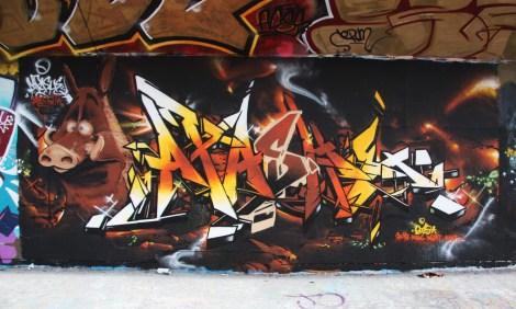 Apache graffiti at the Charlevoix legal graffiti wall