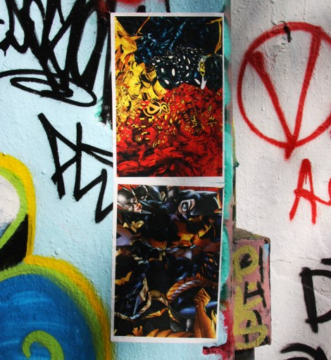 Pasted posters by unidentified artist inside Rouen tunnel