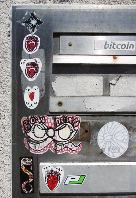 paste-ups by Zu, except for the bottom left sticker by unidentified artist and the 'PJ' sticker by Pier-Luc Lafleur