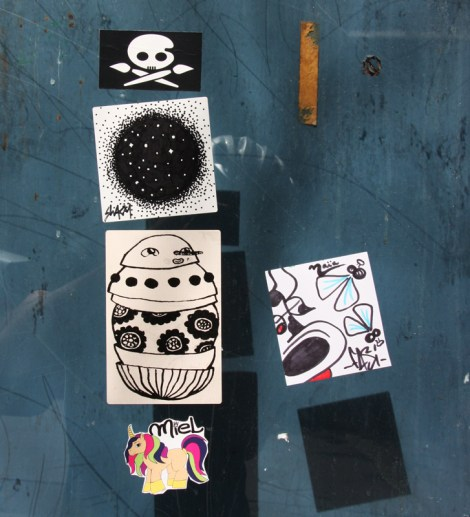 Sticker party featuring unidentified (top left), Swarm, Waxhead, Miel (bottom left) and Fasi (right)