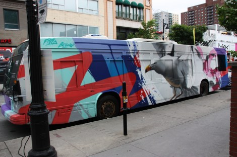Bus painted by Bryan Beyung and Five Eight for the 2015 edition of Mural Festival