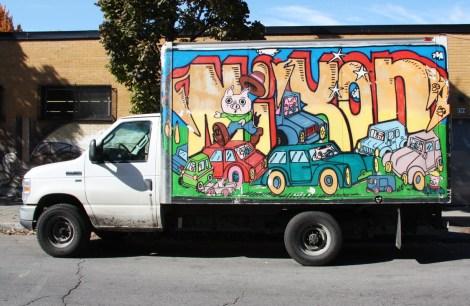 Nixon on side of truck
