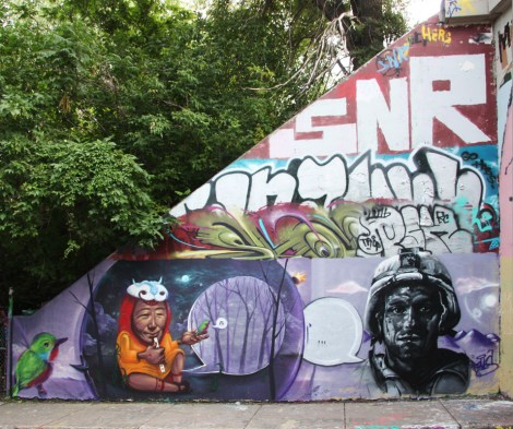 Monk.e, Marian Clem and Rouks at the Rouen tunnel legal graffiti walls