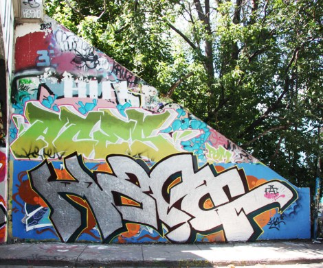 Narc (bottom), Aces (middle) at the Rouen tunnel legal graffiti walls