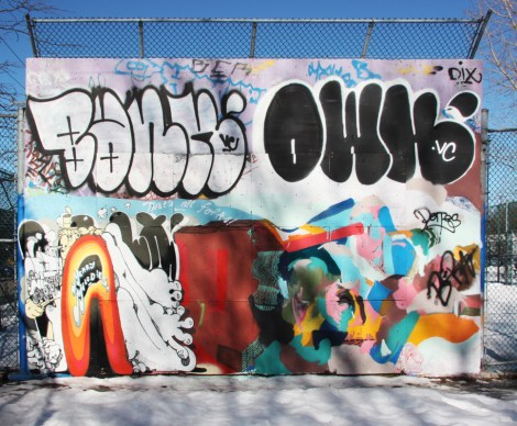 Vilx (bootm left), MSHL (bottom right), plus throwies by Bank and Owk at the top, near the PSC legal graffiti wall