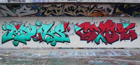 Rouks (left) and Crane (right) at the PSC legal graffiti wall