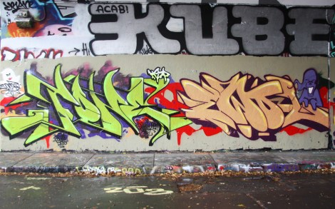 Fone (left) and Ewol (right) at the Halloween jam at the Rouen legal graffiti tunnel