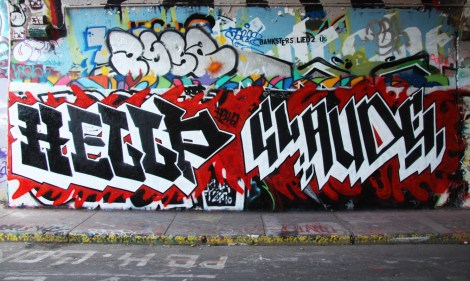 Hellp (left) and Claude (right) at the Rouen legal graffiti tunnel