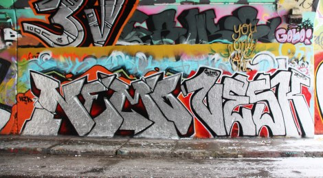 Nemo (bottom left) and Vesk (bottom right) at the Rouen legal graffiti tunnel