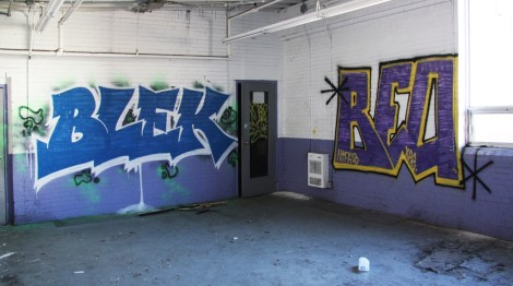 Blek and Beo in one of the abandoned Transco's locker spaces