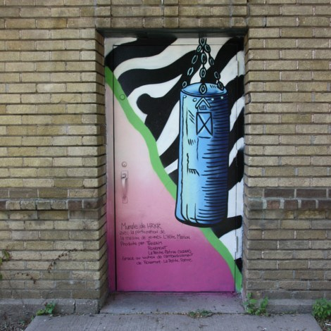 door 3/4 of a boxing center in Petite-Patrie, by HRKR