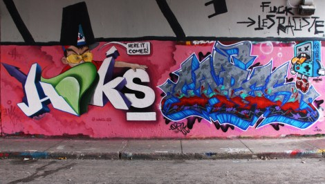 Haks (left) and Capes (right) at the Rouen legal graffiti tunnel