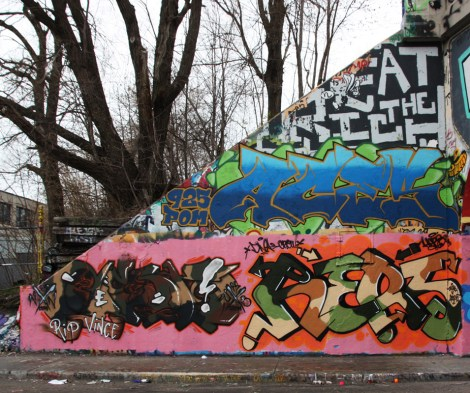 unidentified (bottom left), Hers (bottom right) and Aces at the Rouen legal graffiti tunnel