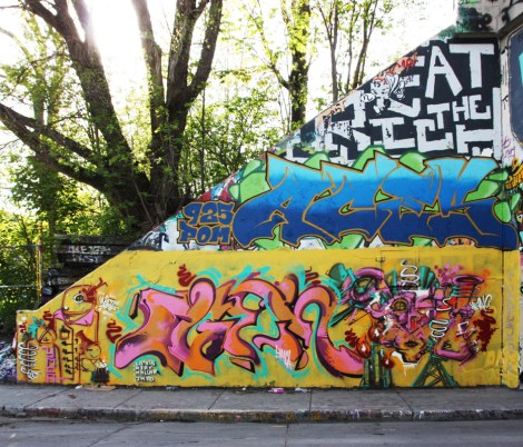 Max and Ogen (ground level) and Aces (above) at the Rouen legal graffiti tunnel