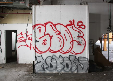 Etos in red and Actor in grey, in the abandoned Transco