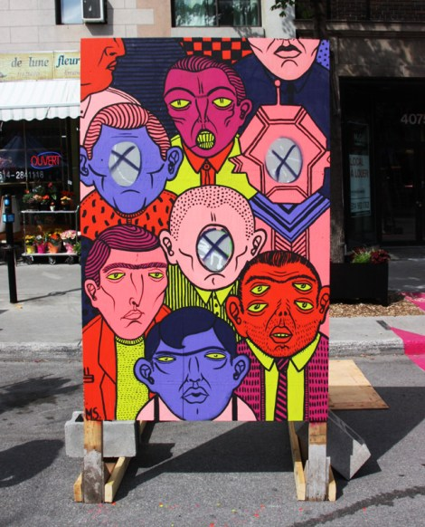 """Mono Sourcil on""""your face here"""" board for the 2016 edition of Mural Festival"""