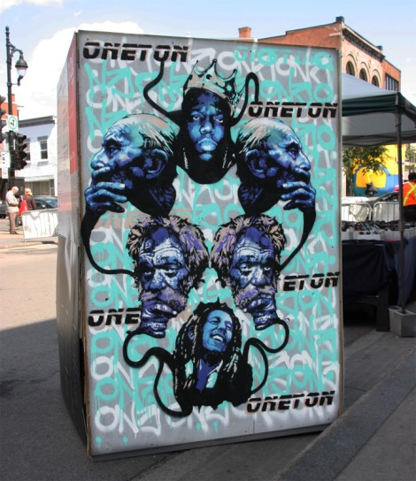 One Ton on the reverse of an information board for the 2016 edition of Mural Festival