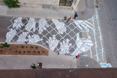Roadworth for the 2016 edition of Mural Festival; photo © Roadsworth