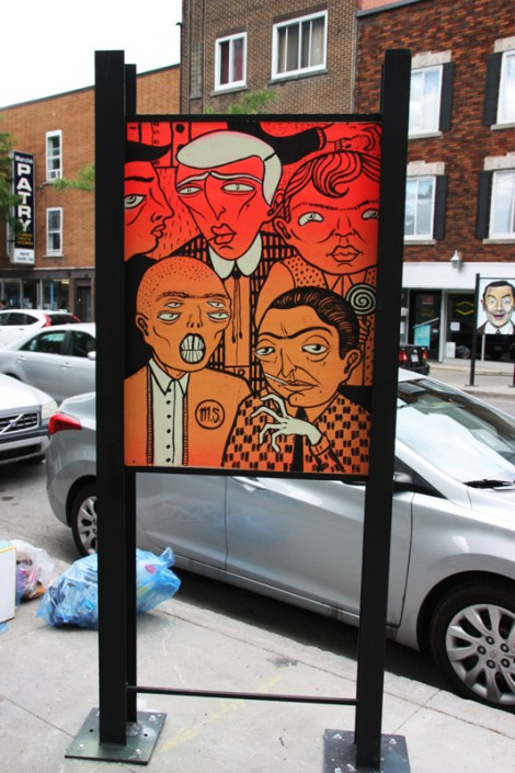Mono Sourcil on sidewalk panel on Amherst for the 2016 edition of the MTL En Arts festival