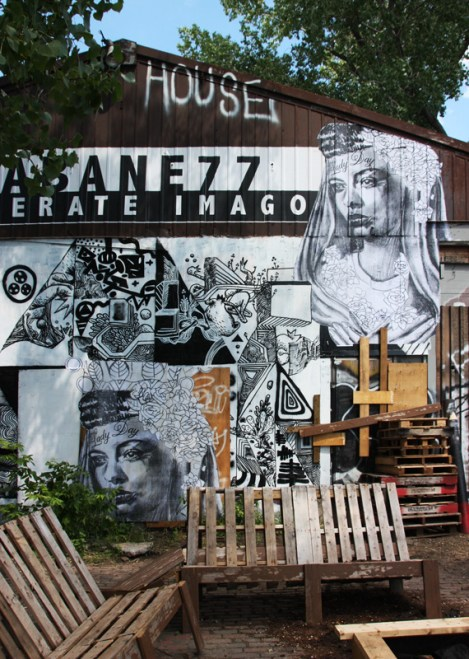 Miss Me wheatpastes (top right) and bottom left) in Mile End, around a black and white mural piece by SBU One and MSGL