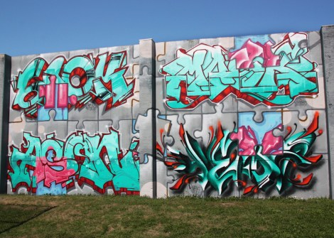 Snok (top left), Ason (bottom left), Mask (top right) and Yema (bottom right) at the Lachine legal graffiti walls