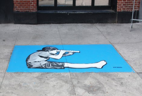 sidewalk piece by Joe Iurato for the 2017 edition of Mural Festival