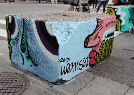 Waxhead on cement block for the 2017 edition of Mural Festival